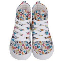 Funny Cute Colorful Cats Pattern Kid s Hi Top Skate Sneakers