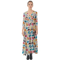 Funny Cute Colorful Cats Pattern Button Up Boho Maxi Dress