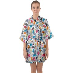 Funny Cute Colorful Cats Pattern Quarter Sleeve Kimono Robe