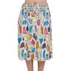 Funny Cute Colorful Cats Pattern Velvet Flared Midi Skirt
