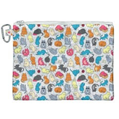 Funny Cute Colorful Cats Pattern Canvas Cosmetic Bag (xxl)