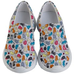 Funny Cute Colorful Cats Pattern Kid s Lightweight Slip Ons
