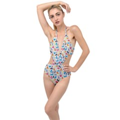 Funny Cute Colorful Cats Pattern Plunging Cut Out Swimsuit