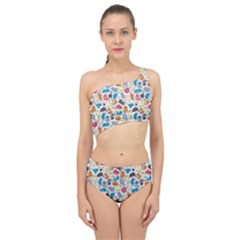 Funny Cute Colorful Cats Pattern Spliced Up Two Piece Swimsuit