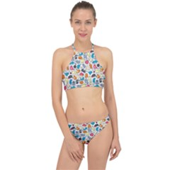 Funny Cute Colorful Cats Pattern Racer Front Bikini Set