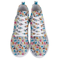 Funny Cute Colorful Cats Pattern Men s Lightweight High Top Sneakers