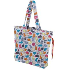 Funny Cute Colorful Cats Pattern Drawstring Tote Bag by EDDArt