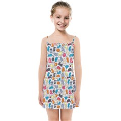 Funny Cute Colorful Cats Pattern Kids Summer Sun Dress