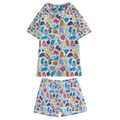 Funny Cute Colorful Cats Pattern Kids  Swim Tee And Shorts Set