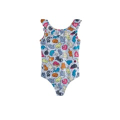 Funny Cute Colorful Cats Pattern Kids  Frill Swimsuit