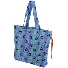 Footprints Cat Black On Batik Pattern Teal Violet Drawstring Tote Bag by EDDArt