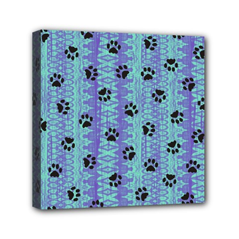 Footprints Cat Black On Batik Pattern Teal Violet Mini Canvas 6  X 6