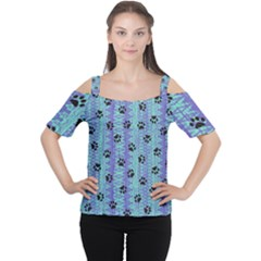 Footprints Cat Black On Batik Pattern Teal Violet Cutout Shoulder Tee by EDDArt