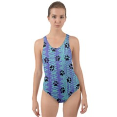 Footprints Cat Black On Batik Pattern Teal Violet Cut Out Back One Piece Swimsuit by EDDArt
