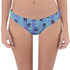 Footprints Cat Black On Batik Pattern Teal Violet Reversible Hipster Bikini Bottoms