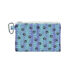Footprints Cat Black On Batik Pattern Teal Violet Canvas Cosmetic Bag (small) by EDDArt