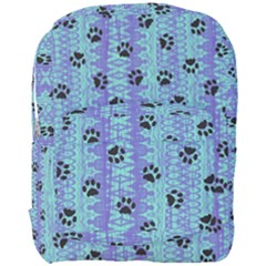 Footprints Cat Black On Batik Pattern Teal Violet Full Print Backpack