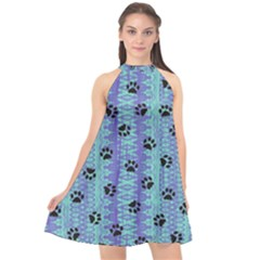 Footprints Cat Black On Batik Pattern Teal Violet Halter Neckline Chiffon Dress