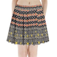 Red And Geometric Designs Created By Flipstylez Designs Pleated Mini Skirt