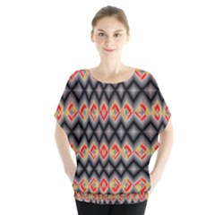 Red And Black Zig Zags  Blouse