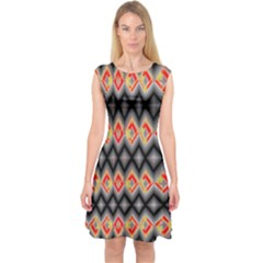 Red And Black Zig Zags  Capsleeve Midi Dress by flipstylezdes