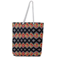 Red And Black Zig Zags  Full Print Rope Handle Tote (large)