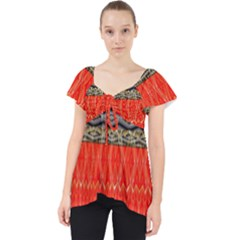 Creative Red And Black Geometric Design  Lace Front Dolly Top