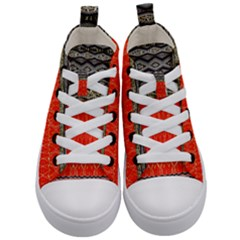 Creative Red And Black Geometric Design  Kid s Mid Top Canvas Sneakers