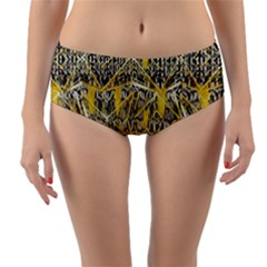 Gold And Black Geometric Designs Created By Flipstylez Designs Reversible Mid Waist Bikini Bottoms