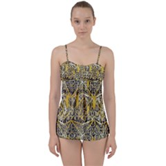 Gold And Black Geometric Designs Created By Flipstylez Designs Babydoll Tankini Set