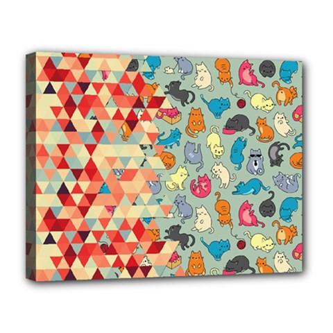Hipster Triangles And Funny Cats Cut Pattern Canvas 14  X 11