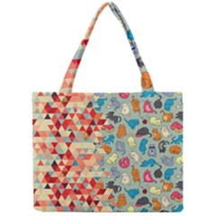 Hipster Triangles And Funny Cats Cut Pattern Mini Tote Bag by EDDArt