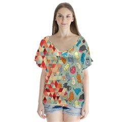 Hipster Triangles And Funny Cats Cut Pattern V Neck Flutter Sleeve Top