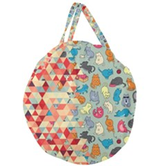 Hipster Triangles And Funny Cats Cut Pattern Giant Round Zipper Tote by EDDArt