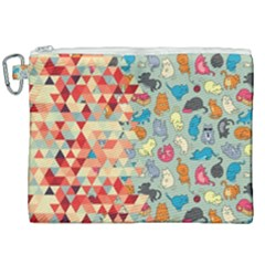Hipster Triangles And Funny Cats Cut Pattern Canvas Cosmetic Bag (xxl) by EDDArt