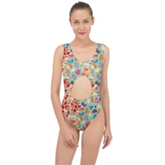 Hipster Triangles And Funny Cats Cut Pattern Center Cut Out Swimsuit by EDDArt