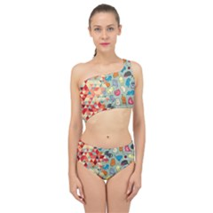 Hipster Triangles And Funny Cats Cut Pattern Spliced Up Two Piece Swimsuit by EDDArt