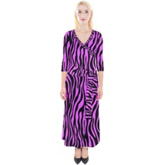 Zebra Stripes Pattern Trend Colors Black Pink Quarter Sleeve Wrap Maxi Dress