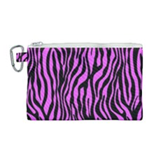 Zebra Stripes Pattern Trend Colors Black Pink Canvas Cosmetic Bag (medium) by EDDArt