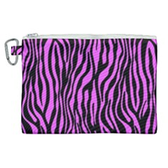 Zebra Stripes Pattern Trend Colors Black Pink Canvas Cosmetic Bag (xl) by EDDArt