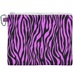 Zebra Stripes Pattern Trend Colors Black Pink Canvas Cosmetic Bag (xxxl) by EDDArt
