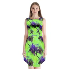 Palm Trees Lime In The Coconut Sleeveless Chiffon Dress