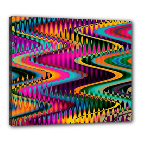 Multicolored Wave Distortion Zigzag Chevrons Canvas 24  X 20  by EDDArt