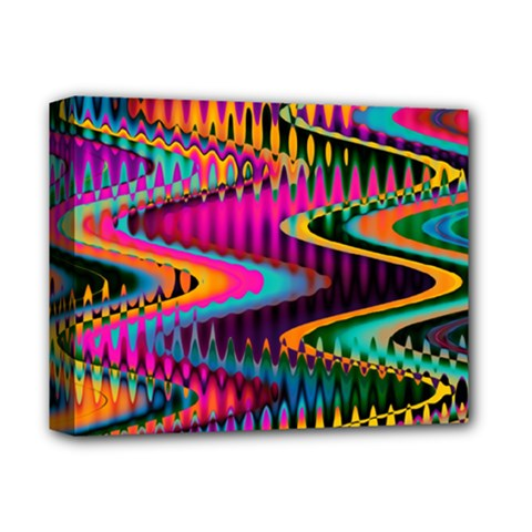 Multicolored Wave Distortion Zigzag Chevrons Deluxe Canvas 14  X 11  by EDDArt