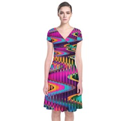 Multicolored Wave Distortion Zigzag Chevrons Short Sleeve Front Wrap Dress