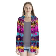 Multicolored Wave Distortion Zigzag Chevrons Drape Collar Cardigan