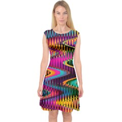 Multicolored Wave Distortion Zigzag Chevrons Capsleeve Midi Dress