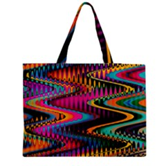 Multicolored Wave Distortion Zigzag Chevrons Medium Tote Bag