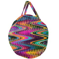 Multicolored Wave Distortion Zigzag Chevrons Giant Round Zipper Tote by EDDArt