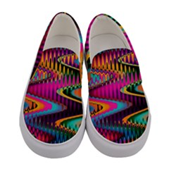 Multicolored Wave Distortion Zigzag Chevrons Women s Canvas Slip Ons